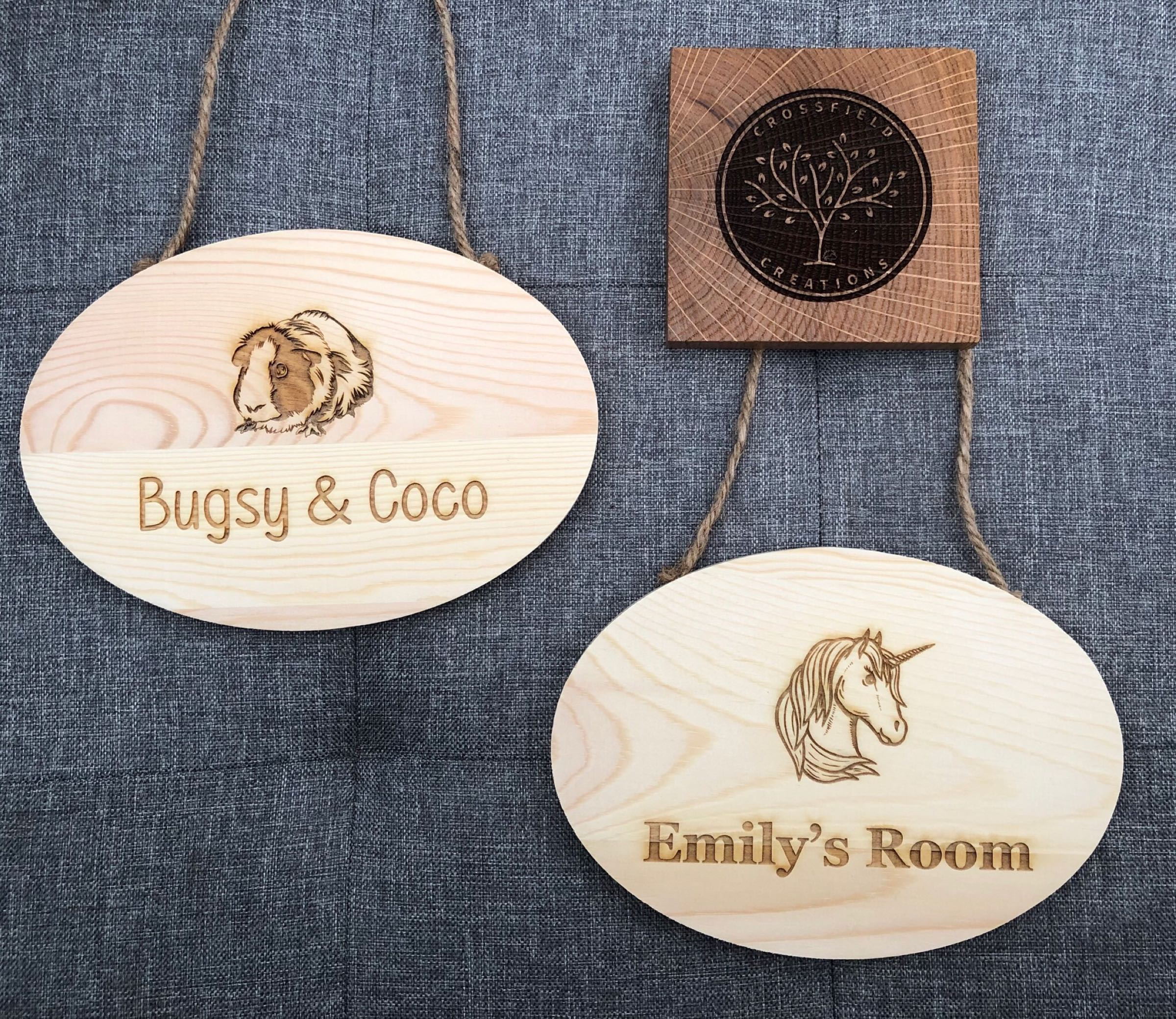 Personalised hanging door sign 17cmx12cm  any design & text