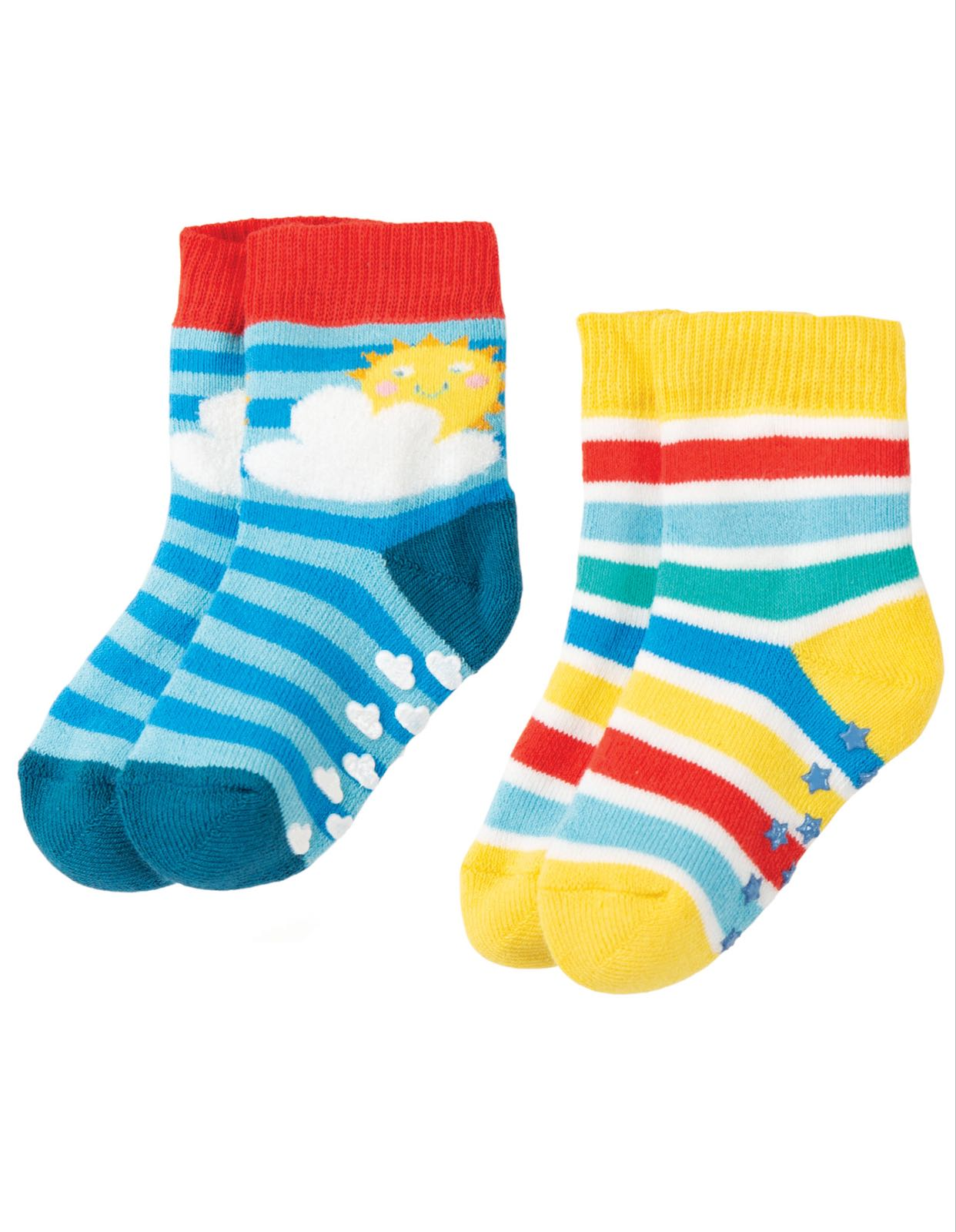 Frugi Grippy Socks 2 Pack, Rainbow