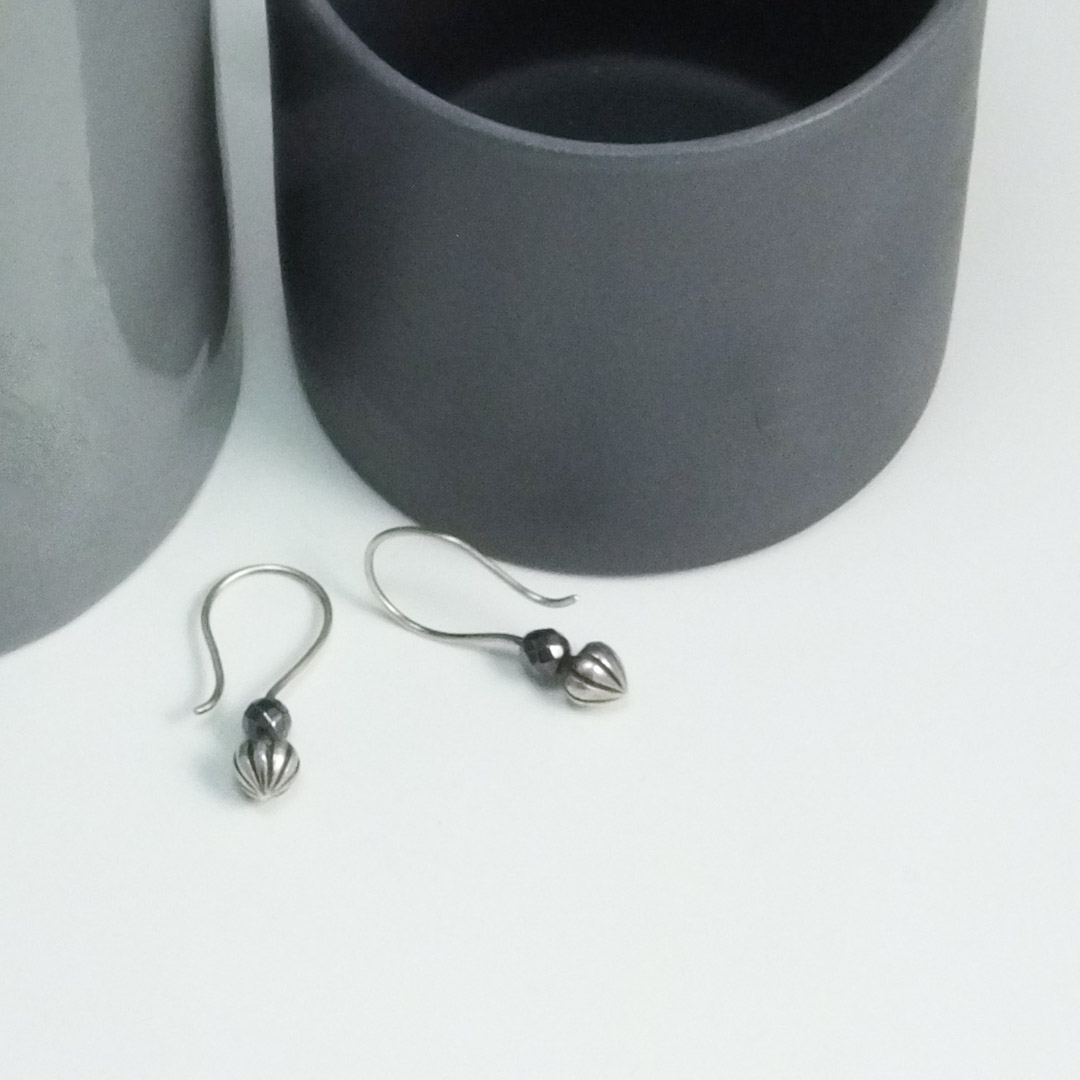 Tiny Pod Hook Earrings; hematite