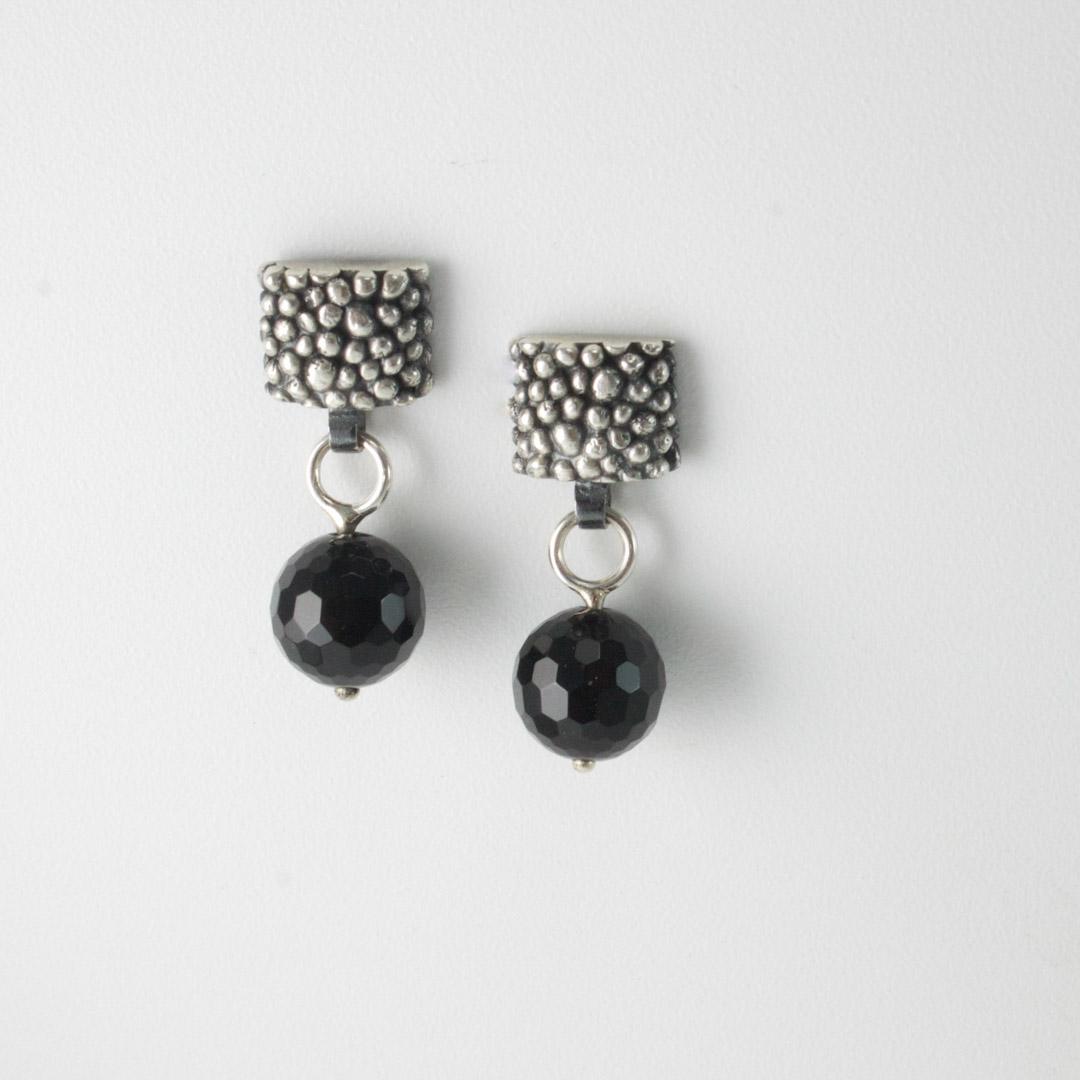 Bobbled Earrings; square.