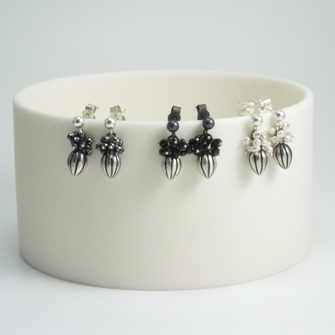 Pod Earrings: hematite.