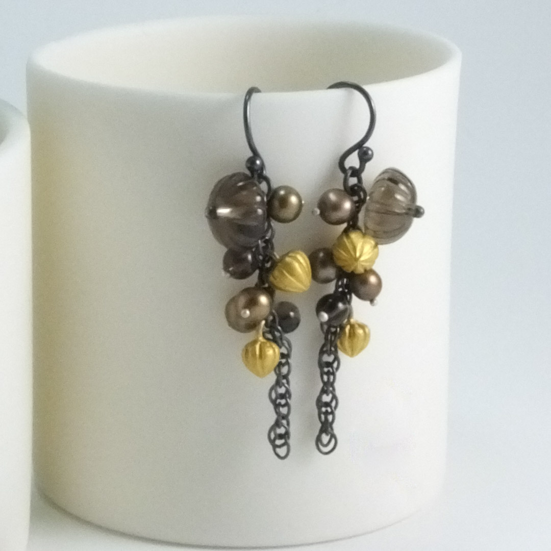 Pod Cascade Earrings: smoky quartz