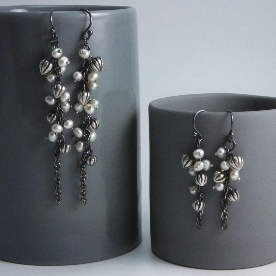 Pod Cascade Earrings: White Pearls