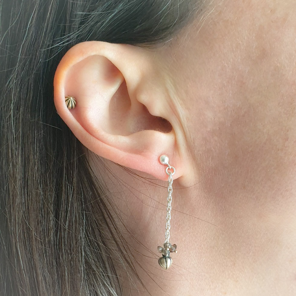 Tiny Pod Chain Earrings