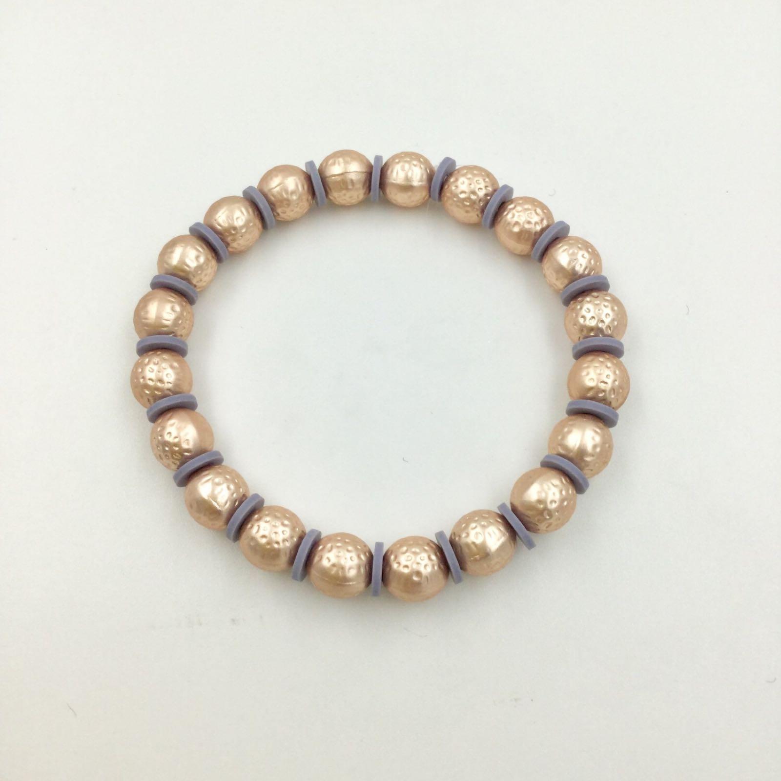 Elasticated Hammered Ball Bracelet - Rose Gold