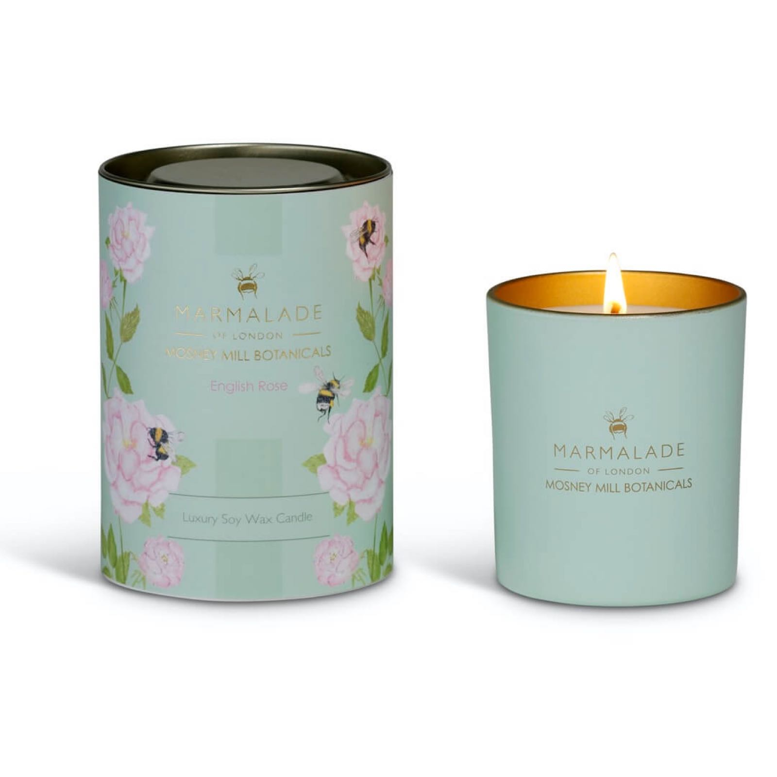 Mosney Mill English Rose Glass Candle
