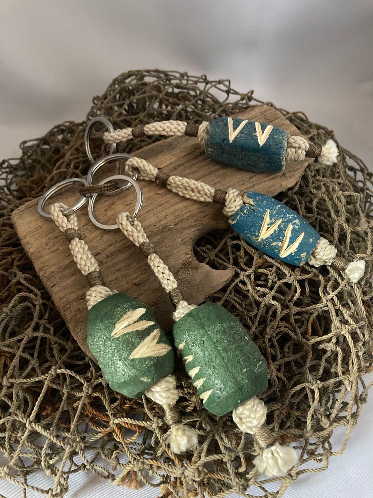 Fischereidesign- Schlüsselanhänger  Schwimmer blau oder grün