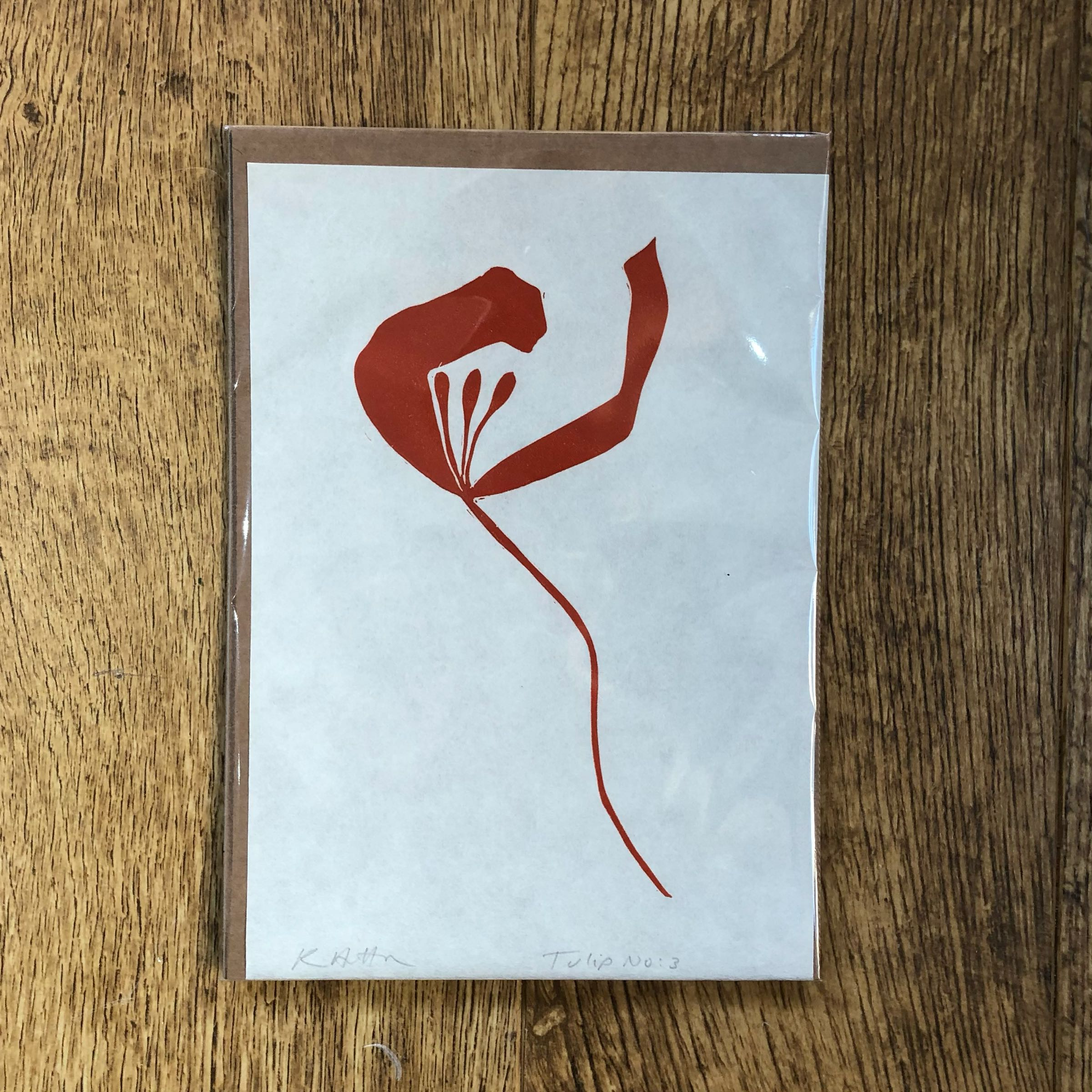 Tulip No.3 single study lino print in Rust by Kathy Hutton