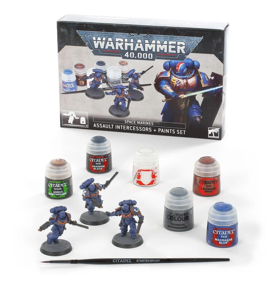 Warhammer 40,000 Space Marines Assault Intercessors & Paints -maalauspakkaus