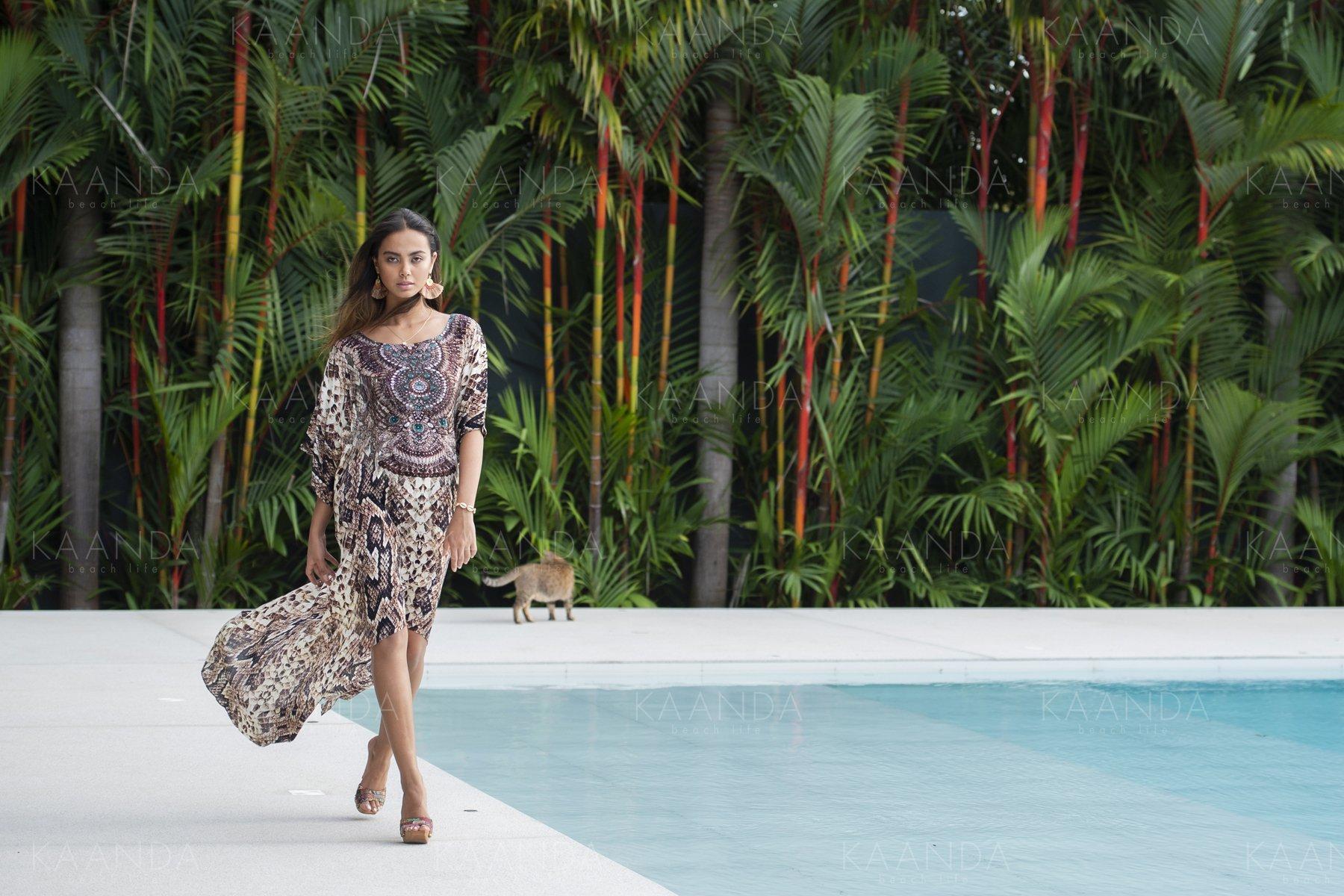 Kaftan Lång, Kaanda beach Life, Stella Snake Kimono, Resort Collection