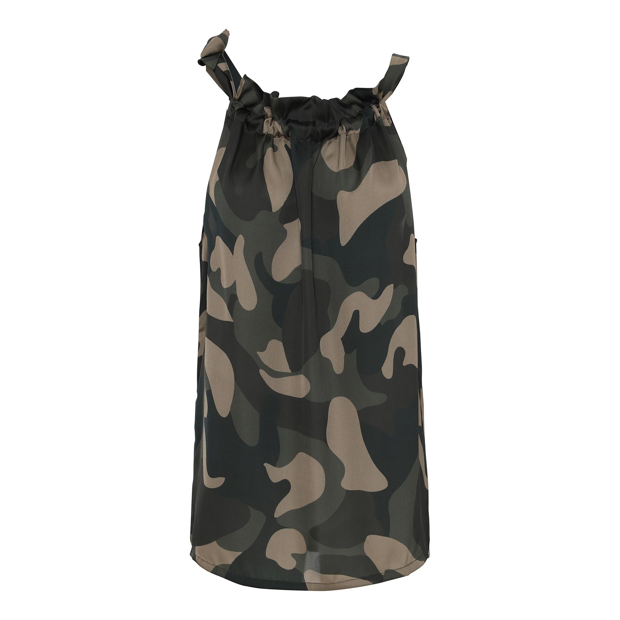 Linne, Karmamia, Camouflage Ruffle Tie Top
