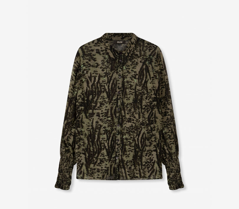 Blus, Alix The Lable, Animal Blouse, Dark Olive