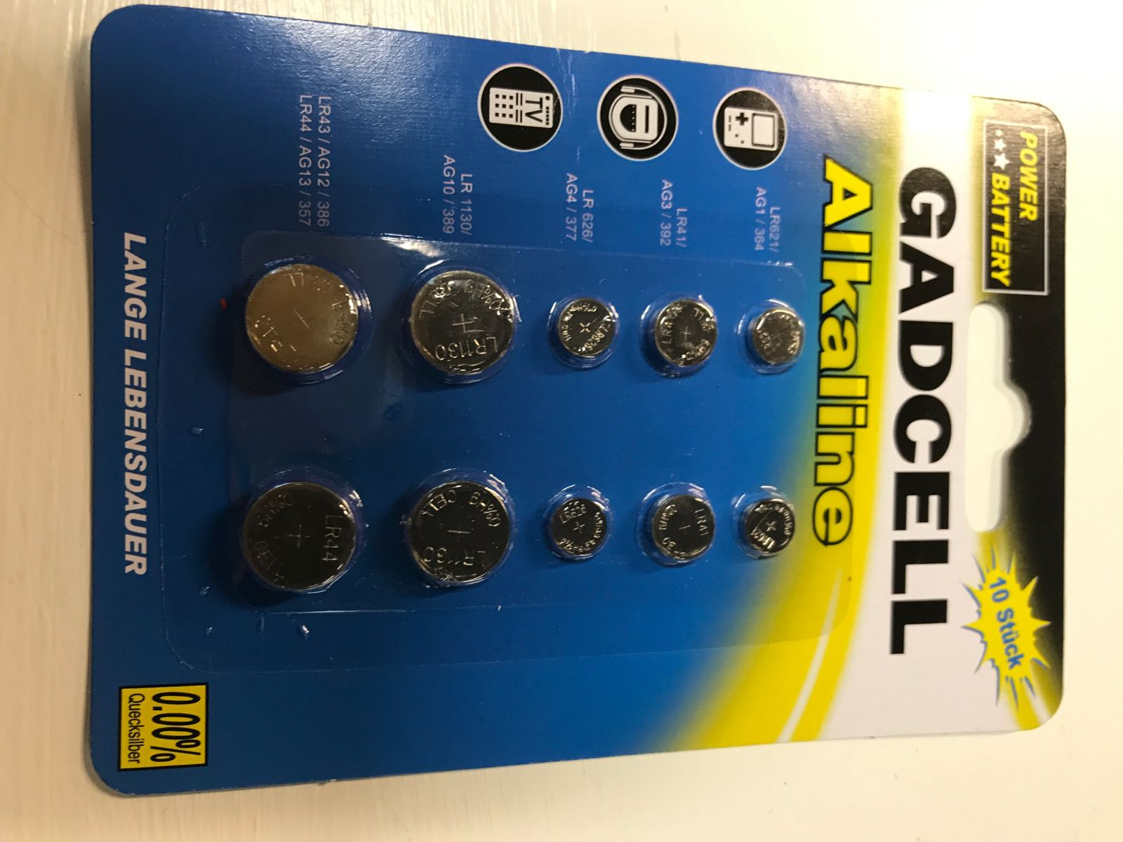 Batterier Buttoncell 10 st Alkaline (5 olika)