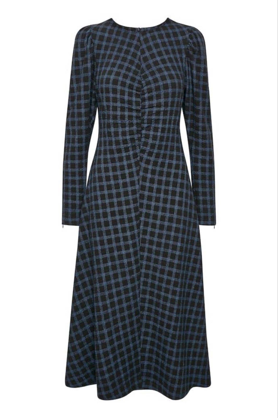 GESTUZ - Lydia kjole sort/blåt ternf