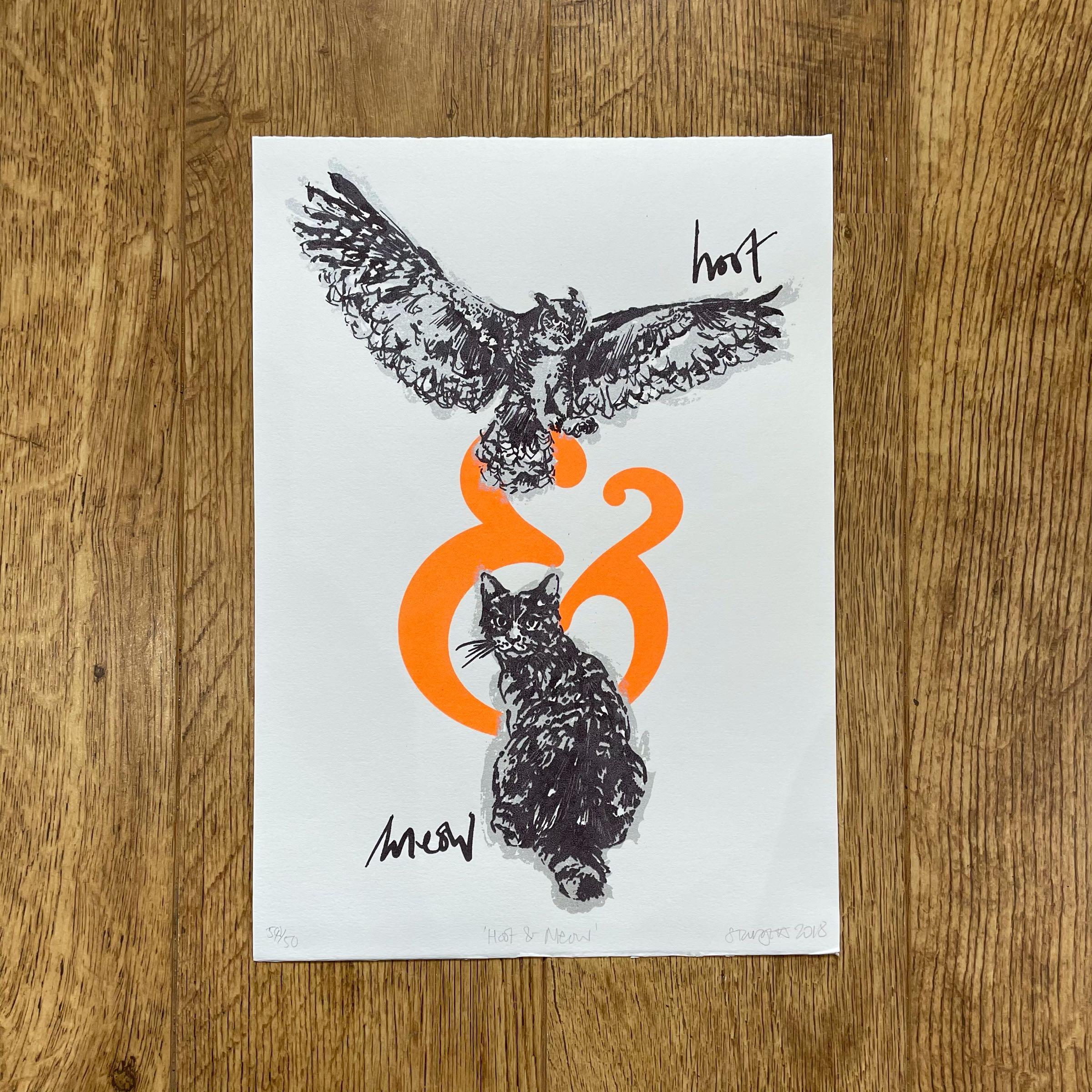 'Hoot & Meow' Silkscreen print by Sarah Targett