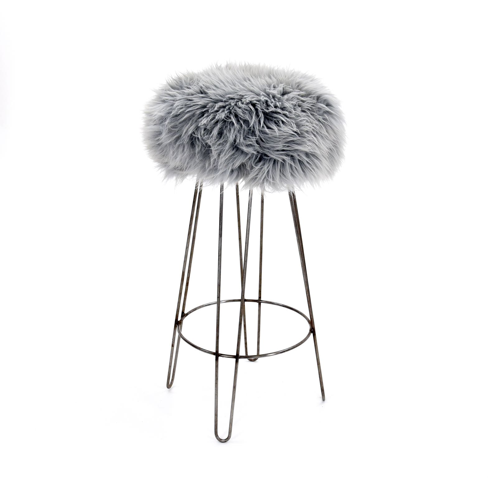 Baa Stool Griff in silver sheepskin 82cm high