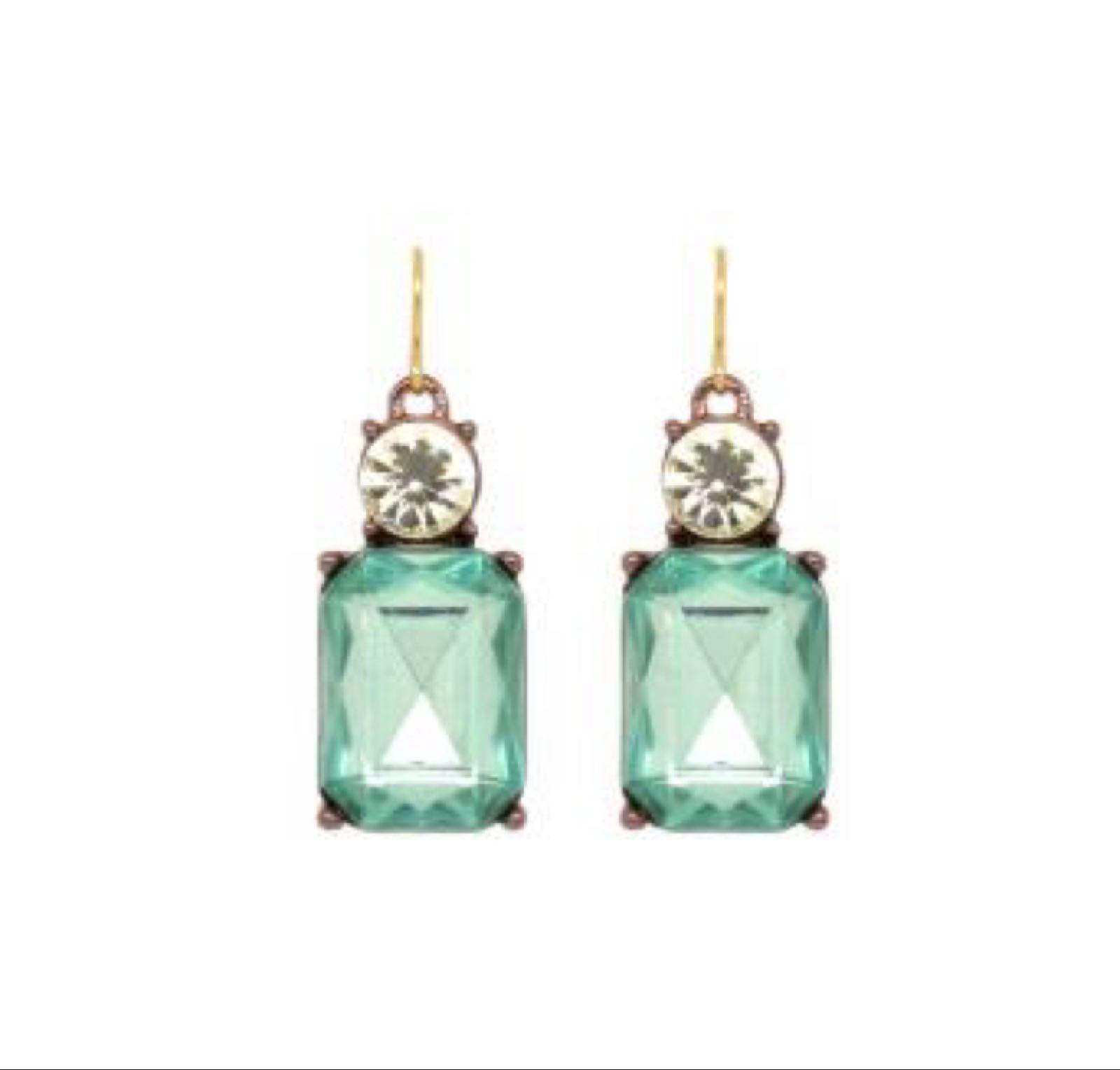 Last true angel gem earrings green and crystal LTE08G