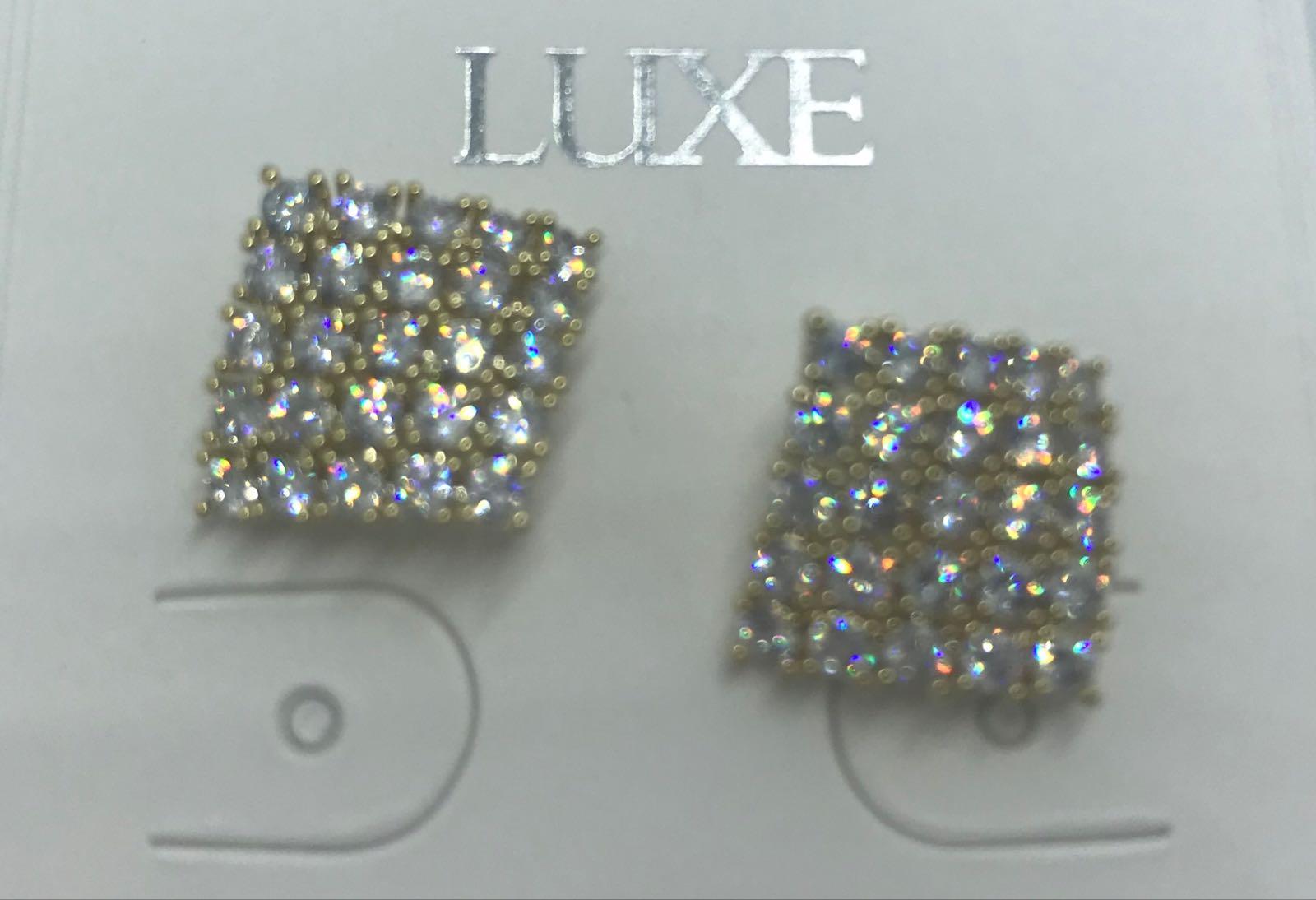 Life Charms diamond shaped crystal stud earrings