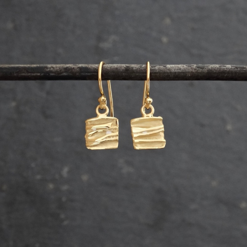 Textured Square Drop Earrings