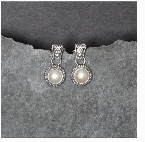 Freshwater Pearl and Sterling Silver Stud Earrings