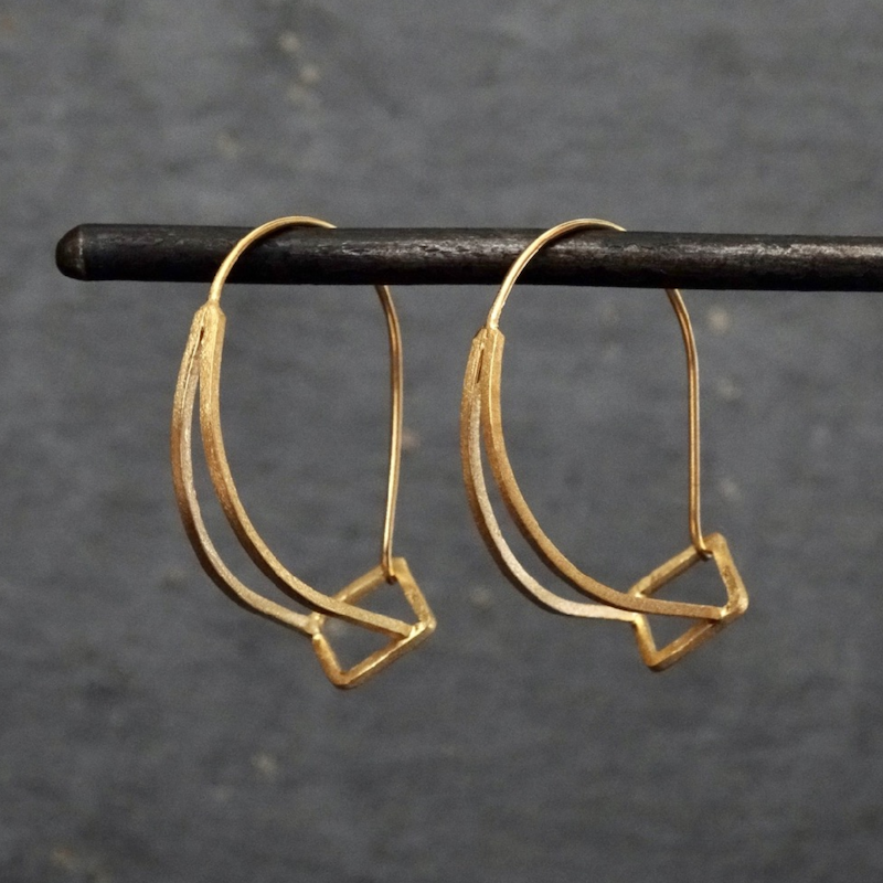Brushed Contemporary Hoop Earrings