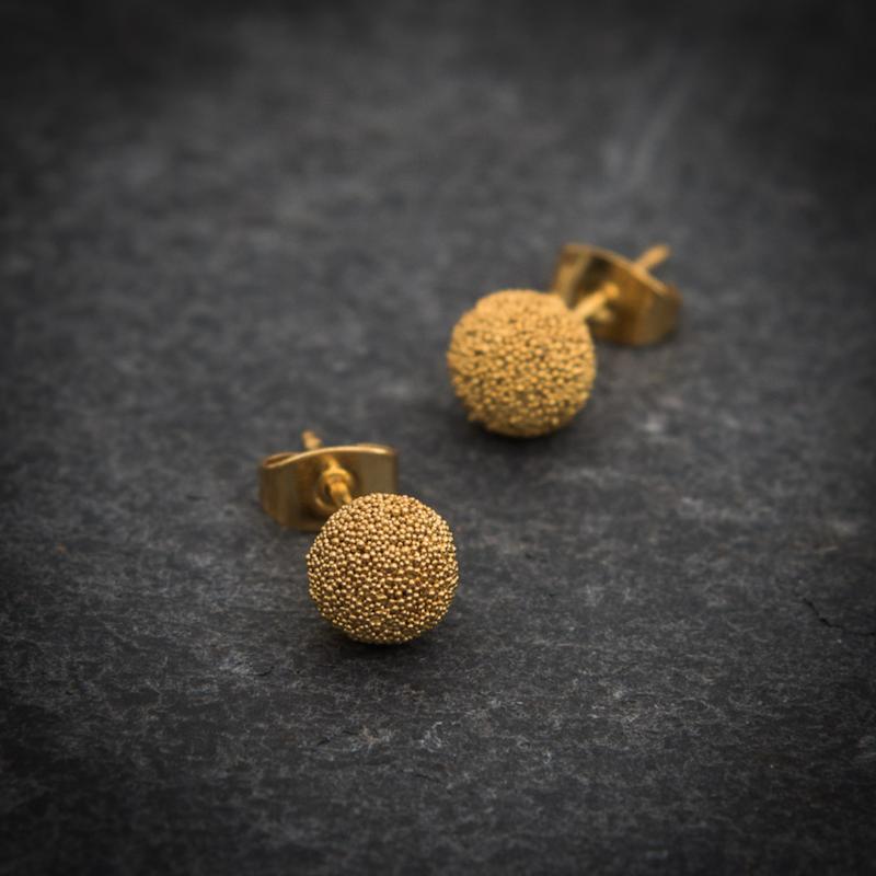 Granulation Ball Stud Earrings in Gold Vermeil