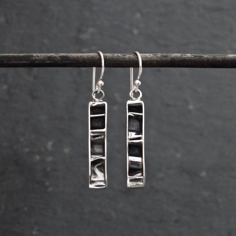 Contemporary Textured Drop Earrings