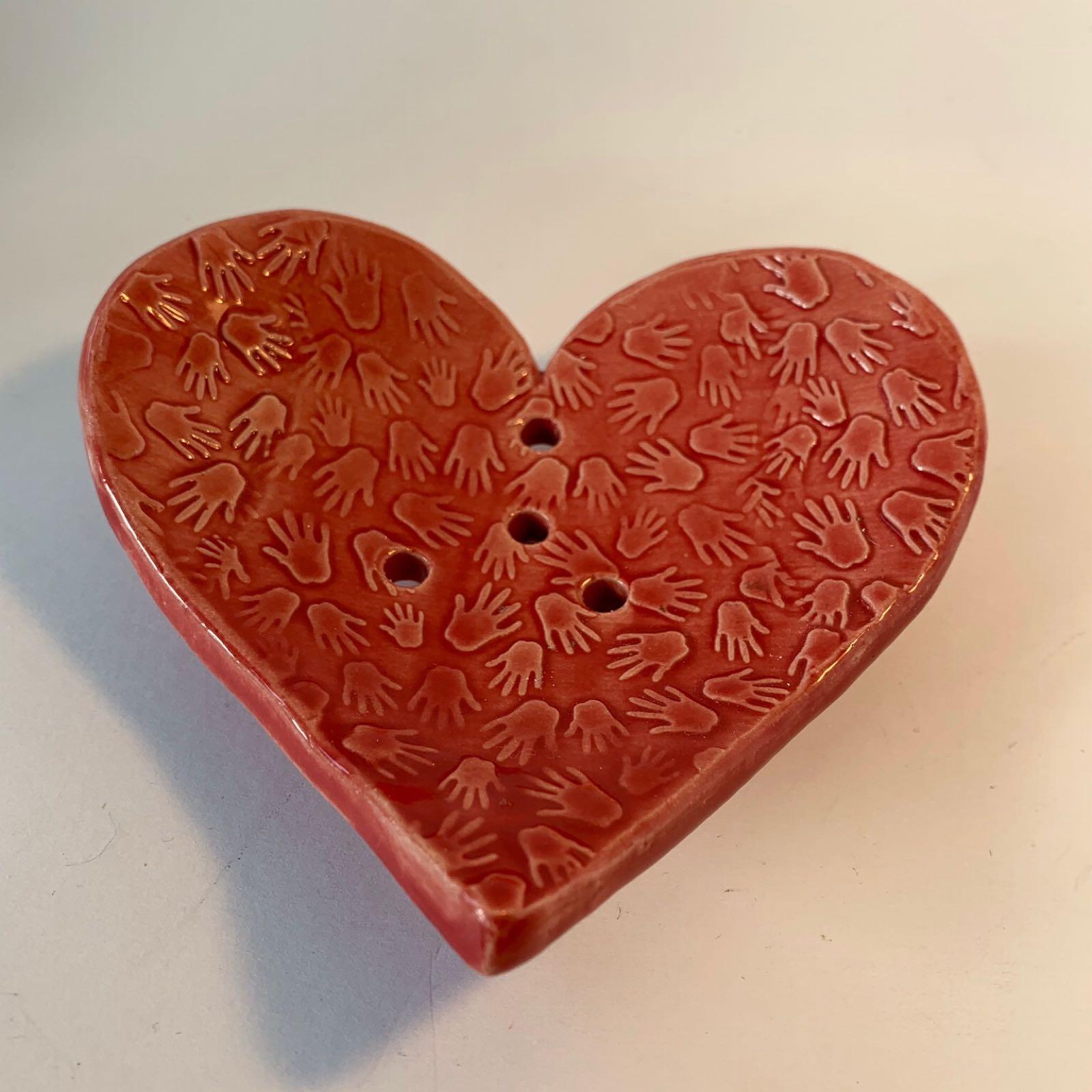 Ceramic Heart Soap Dish - Red