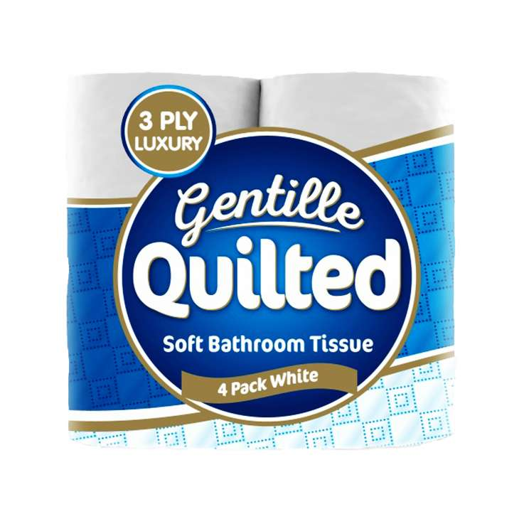 Gentille Quilted White Toilet Paper Luxury 3Ply 4 Pack