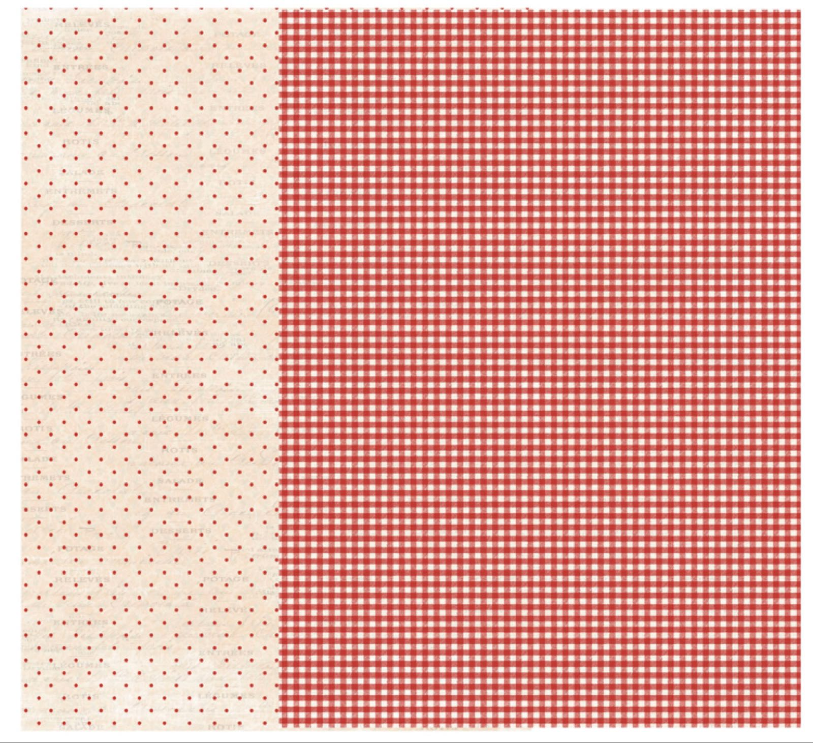 Reprint A4, Fruits & veggies collection Red checkered , RPA4013