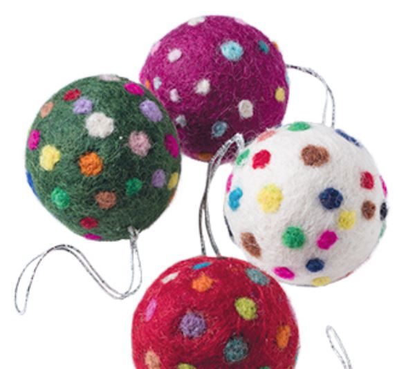 Felt Christmas bauble, spotty