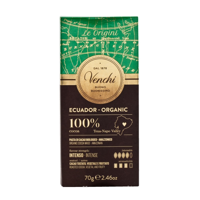 Venchi Organic 100% Dark Chocolate 70g