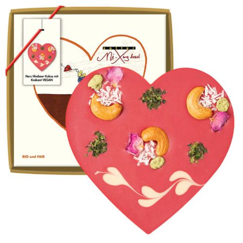 Zotter Mi-Xing Heart Raspberry Coconut Brittle Vegan 100g