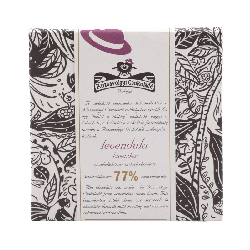 Rózsavölgyi 77% chocolate bar with lavander (without lecithin) 70g