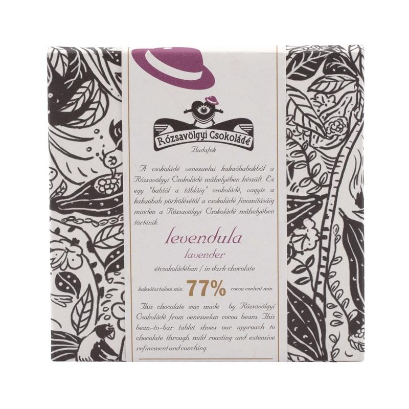 Rózsavölgyi Lavender in Dark Chocolate 77% 70g