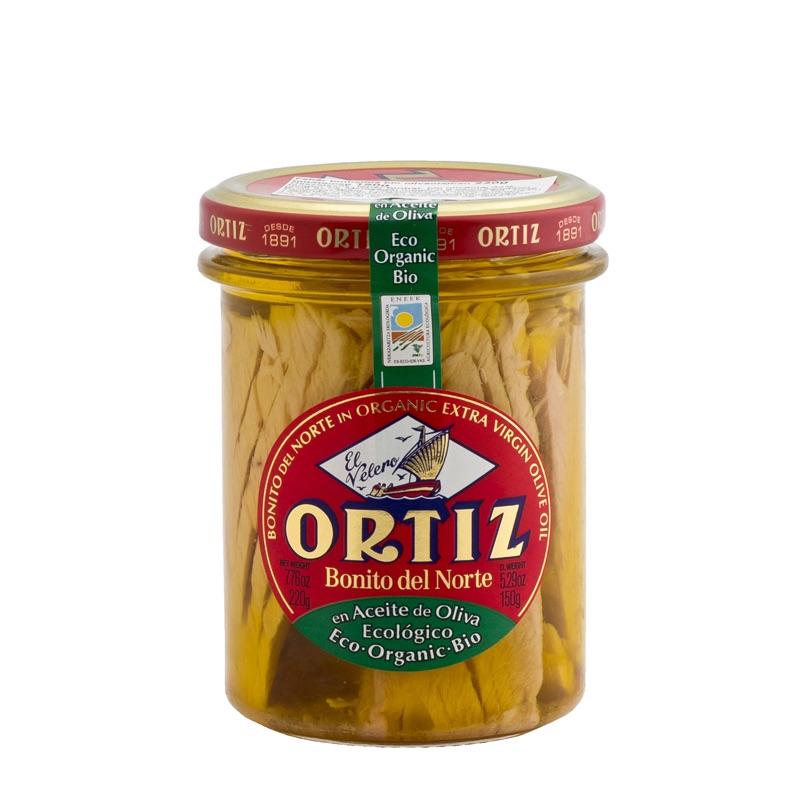 Ortiz Bonito del Norte White Tuna in olive oil organic in glass jar 190g