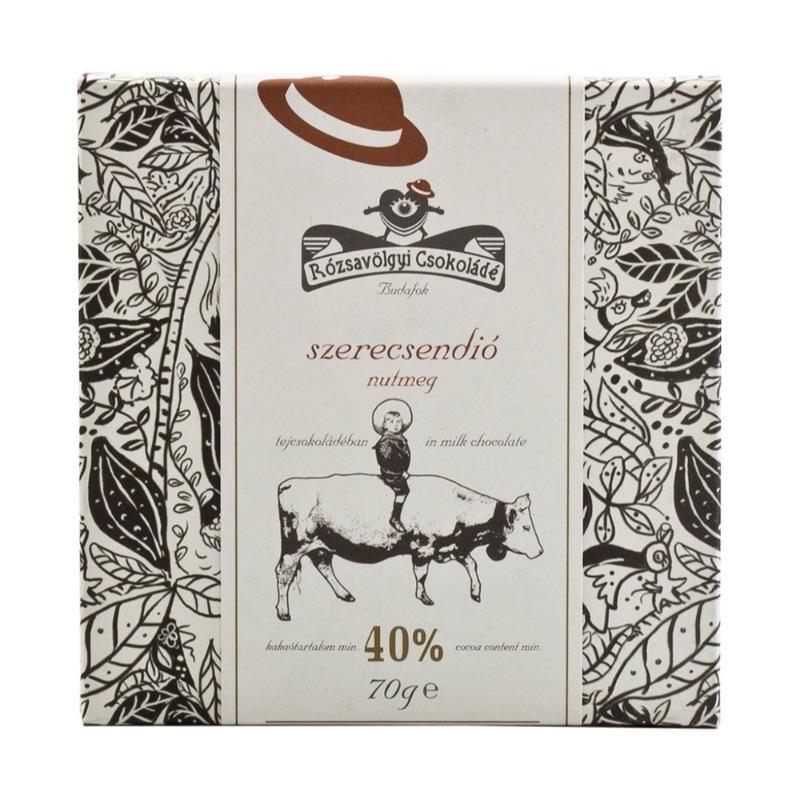 Rózsavölgyi 40% milk chocolate bar with nutmeg 90g