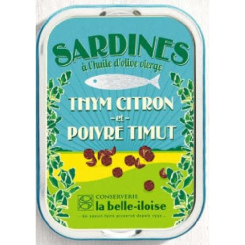 Belle Iloise Sardines with Thyme, Lemon & Timut Pepper 115g