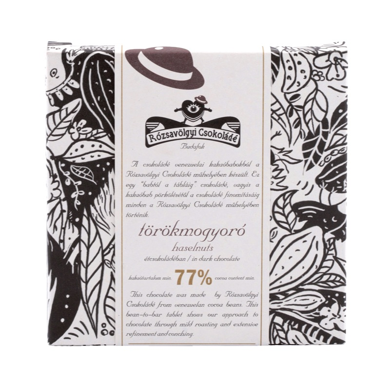 Rózsavölgyi 77% chocolate bar with hazelnut from Piedmont (without lecithin) 70g