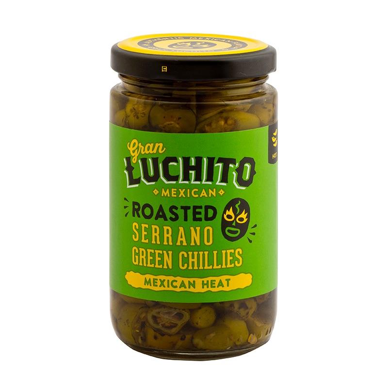 Gran Luchito Roasted Serrano Green Chillies 215g