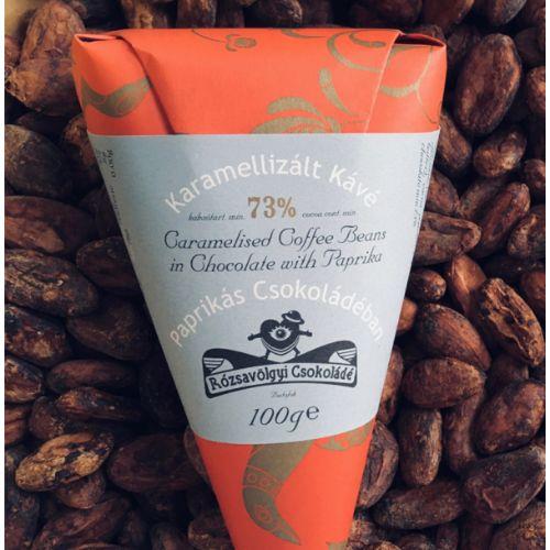 Rózsavölgyi Caramelised Coffee Beans in Chocolate with Paprika 73% 100g