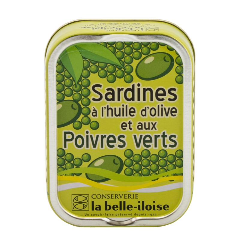 Belle Iloise Sardines with olives and green peppercorns 115g