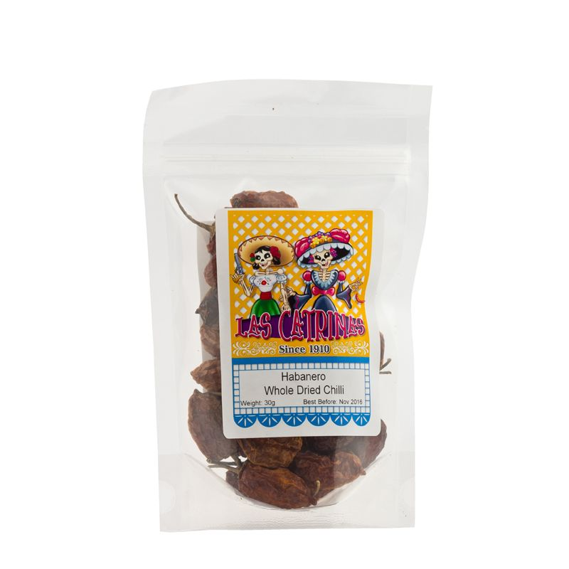 Las Catrinas Habanero Chilli Whole, Dried  30g
