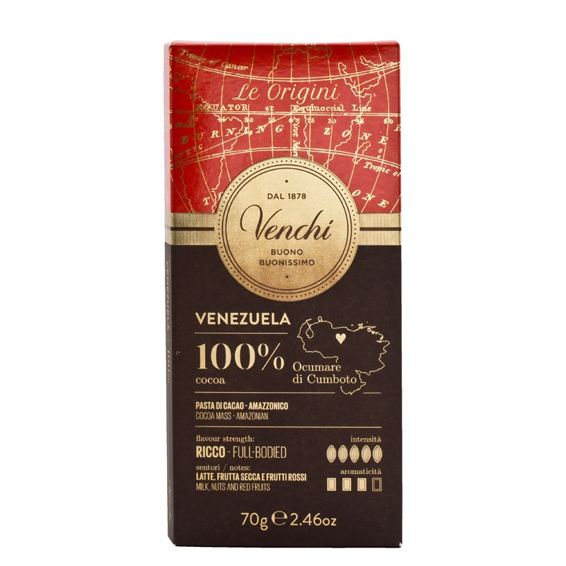 Venchi Venezuela Dark Chocolate Bar 100% 70g