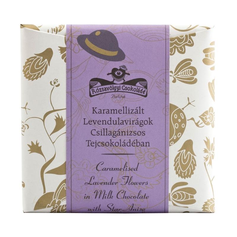 Rózsavölgyi 40% milk chocolate bar with caramelized lavander 70g