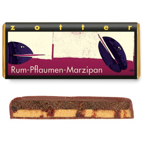 Zotter Plum Marzipan in Rum 70g