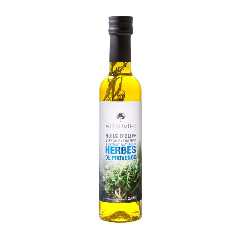 Olivier Huile Olive oil & Herb de Provence in a glass jar 250ml