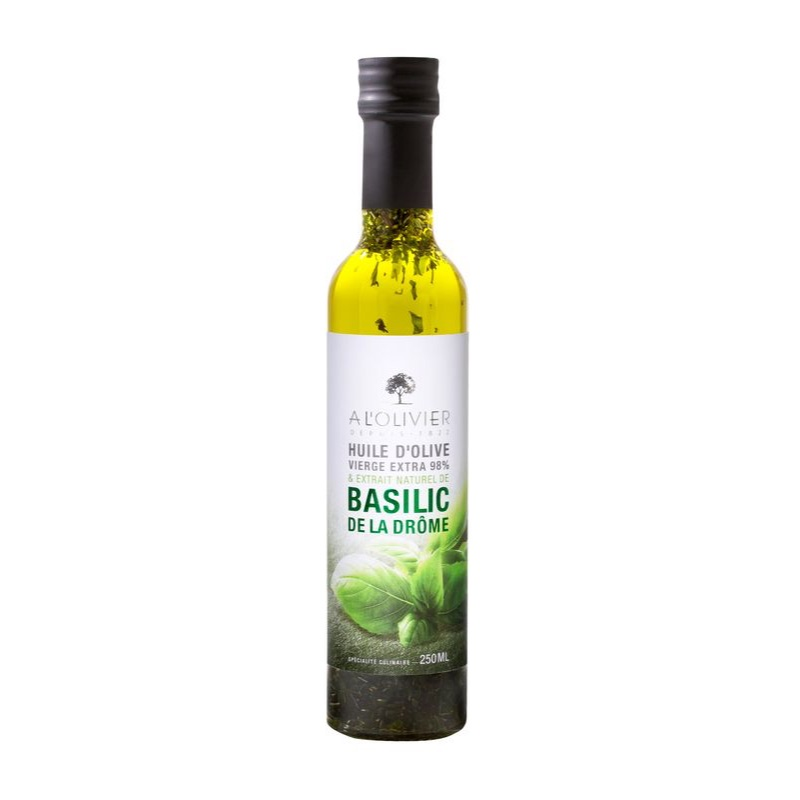 Olivier Huile Olive oil & basil in a glass jar 250ml