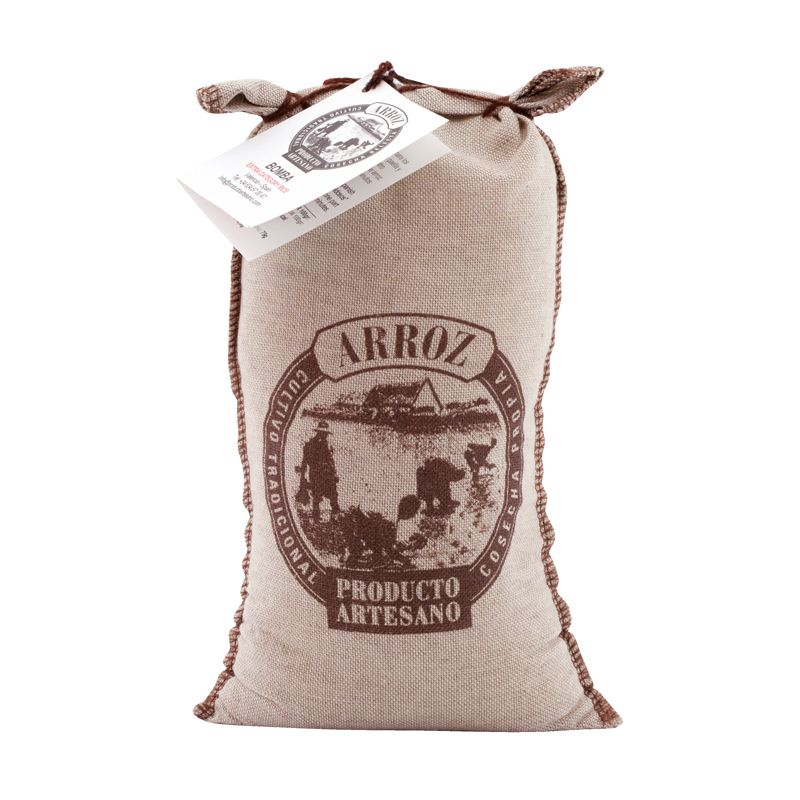 Arroz Bomba Paella rice in textile bag 1kg