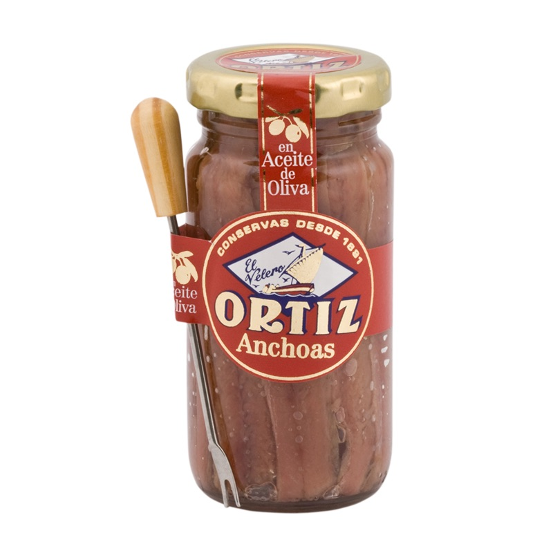 Ortiz* Anchovies olive oil with fork in glass jar 95g